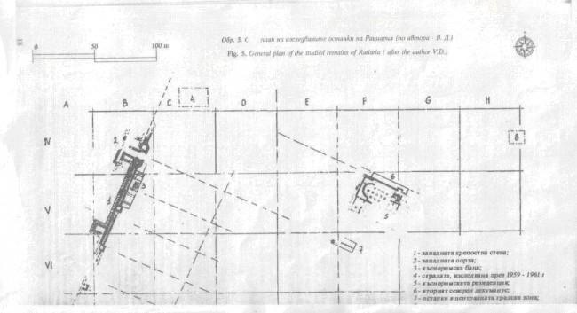 План на изследваните останки /по доц. В. Динчев/