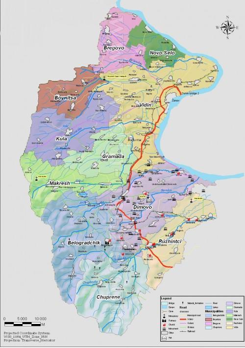 Административна карта на област Видин