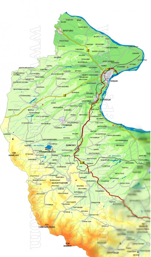 Видин областна карта