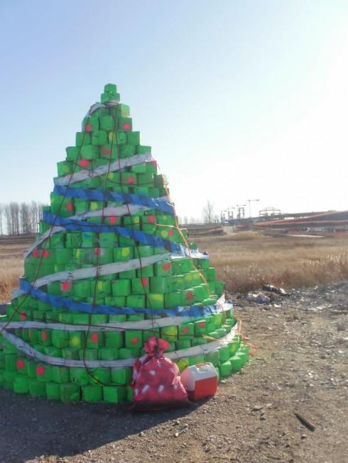 Елха от кубчета на Дунав мост Видин-Калафат