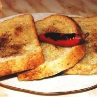 Филийки с хляб и чушка