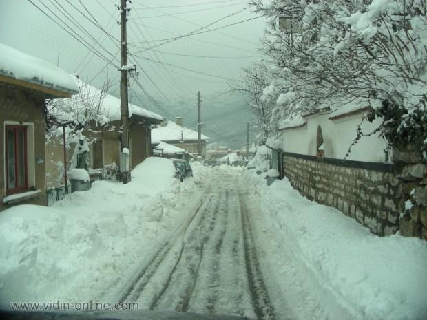 Сняг по улиците в Белоградчик