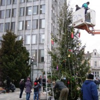 Коледна елха пред сградата на община Видин